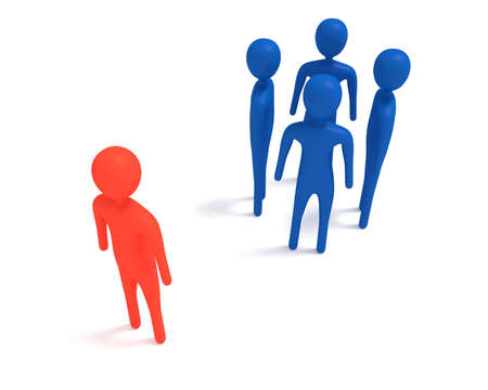 newcomer: Meeting: four blue 3d men and one outsider, 3d illustration Stock Photo