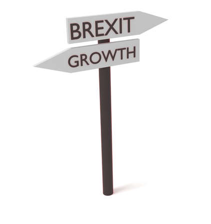 guidepost: Brexit and growth: guidepost, 3d illustration Stock Photo