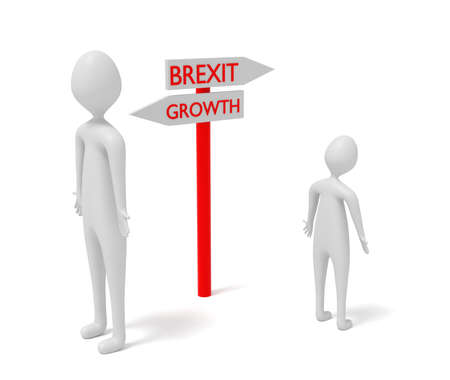 guidepost: Brexit and growth: guidepost with 3d men, 3d illustration