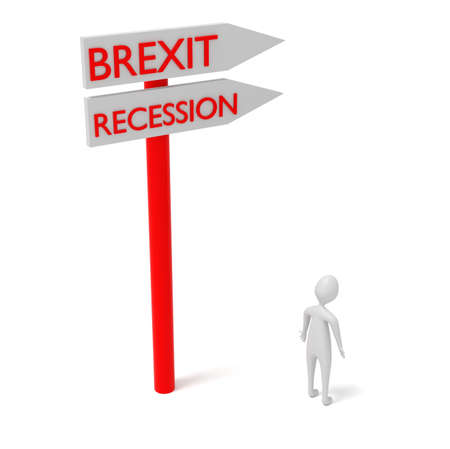 recession: Brexit and recession: guidepost with 3d man, 3d illustration Stock Photo