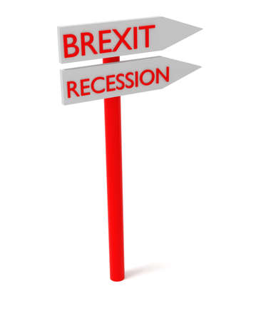 leaving: Brexit and recession: guidepost, 3d illustration