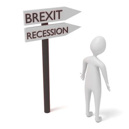guidepost: Brexit and recession: guidepost with 3d man, 3d illustration Stock Photo