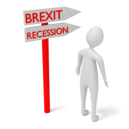 3d man: Brexit and recession: guidepost with 3d man, 3d illustration Stock Photo