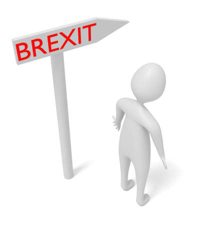 guidepost: Brexit: guidepost with 3d man, 3d illustration