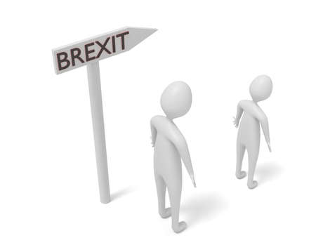 leaving: Brexit: guidepost with 3d men, 3d illustration