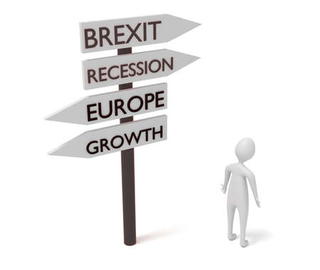guidepost: Brexit and Europe: guidepost with 3d man, 3d illustration