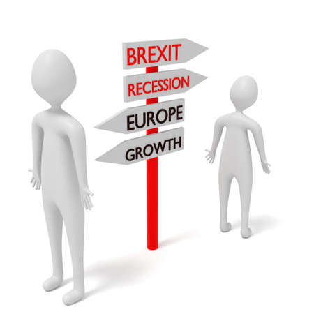 guidepost: Brexit and Europe: guidepost with 3d men, 3d illustration Stock Photo