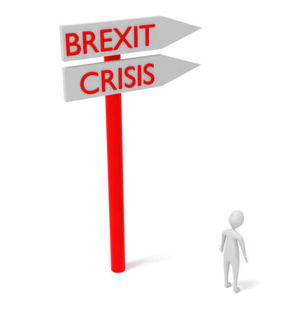 guidepost: Brexit and crisis: guidepost with 3d man, 3d illustration