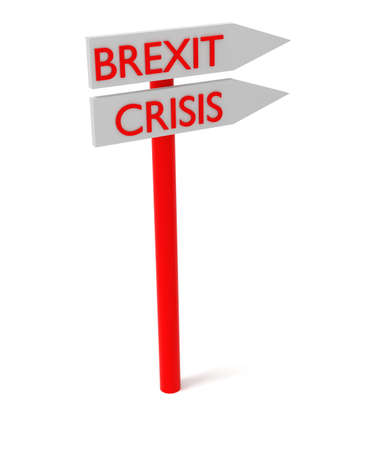 guidepost: Brexit and crisis: guidepost, 3d illustration Stock Photo