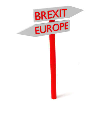 guidepost: Brexit and Europe: guidepost, 3d illustration