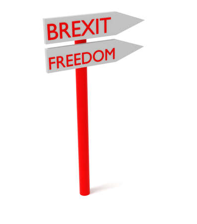 guidepost: Brexit and freedom: guidepost, 3d illustration Stock Photo