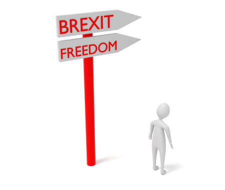 3d man: Brexit and freedom: guidepost with 3d man, 3d illustration