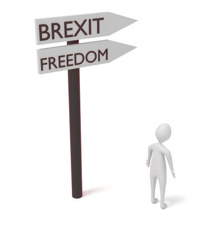 guidepost: Brexit and freedom: guidepost with 3d man, 3d illustration