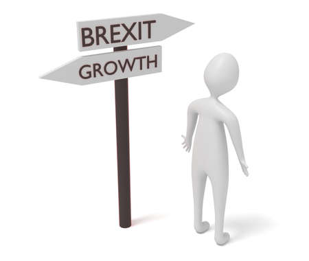 guidepost: Brexit and growth: guidepost with 3d man, 3d illustration