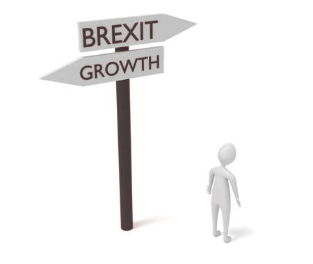 3d man: Brexit and growth: guidepost with 3d man, 3d illustration