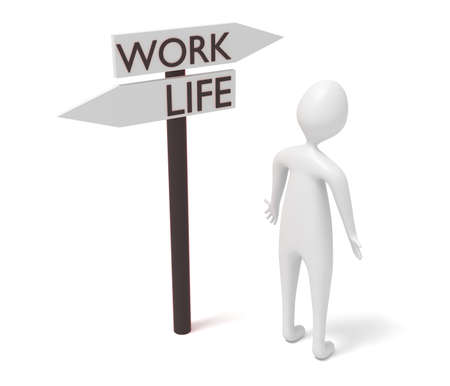 guidepost: Work and life: guidepost with 3d man, 3d illustration