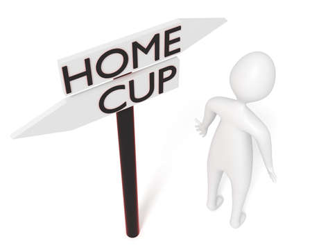 playoff: Home or Cup: guidepost with leaving 3d man, 3d illustration