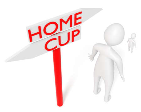 Home or Cup: guidepost with leaving 3d man, 3d illustration