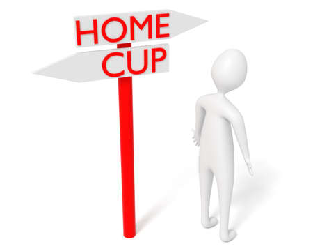 eliminate: Home or Cup: guidepost with leaving 3d man, 3d illustration
