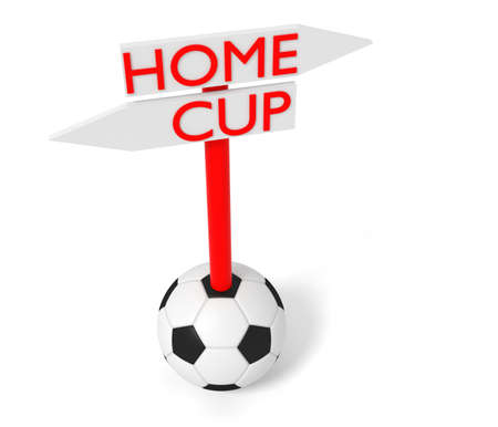 playoff: Home or Cup: guidepost with soccer ball, 3d illustration Stock Photo