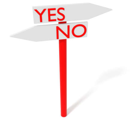 yes no: Yes or no: guidepost, 3d illustration Stock Photo