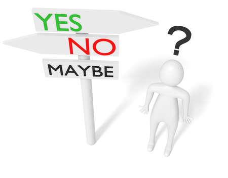 yes or no: Yes or no: guidepost with 3d man, 3d illustration Stock Photo
