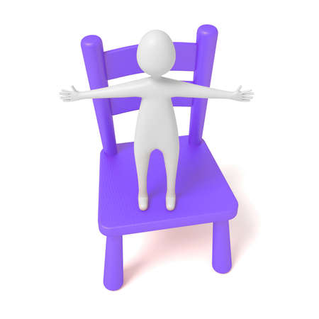wooden chair: hug man on a purple wooden chair, 3d illustration
