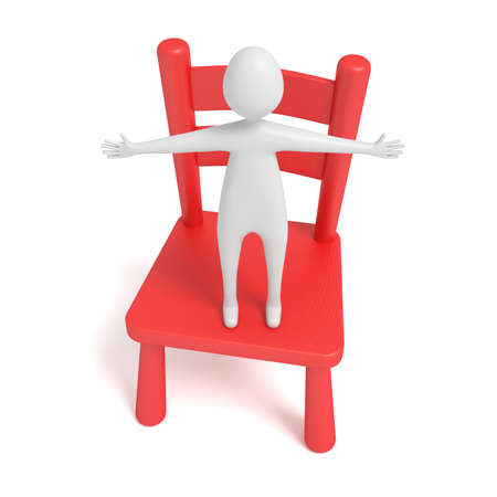 wooden chair: hug man on a red wooden chair, 3d illustration Stock Photo