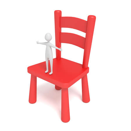 chair wooden: little hug man on a red wooden chair, 3d illustration