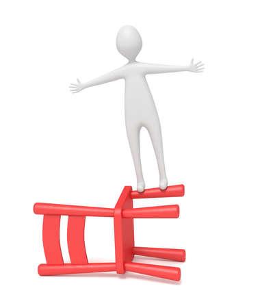 dangerous man: 3d man balancing on a red wooden chair, 3d illustration