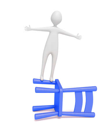 wooden chair: 3d man balancing on a blue wooden chair, 3d illustration