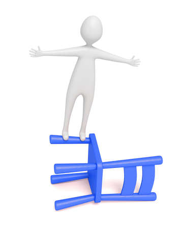 dangerous man: 3d man balancing on a blue wooden chair, 3d illustration
