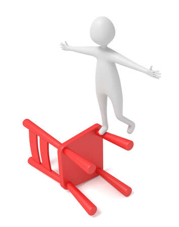 unbalanced: 3d man balancing on a red wooden chair, 3d illustration