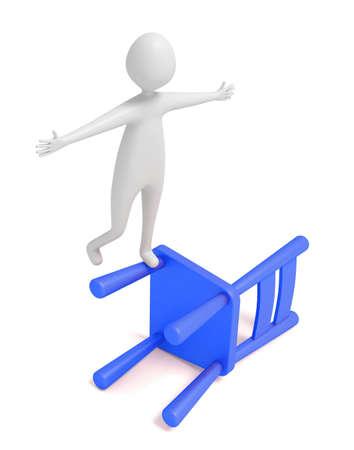 dangerous man: 3d man balancing on a blue wooden chair, 3d illustration