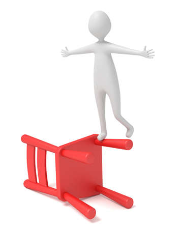 wooden chair: 3d man balancing on a red wooden chair, 3d illustration
