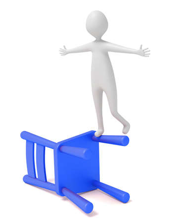 unbalanced: 3d man balancing on a blue wooden chair, 3d illustration