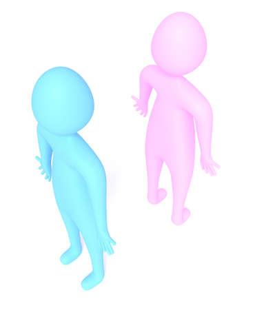 disagree: quarreling: relationship of blue and pink little men