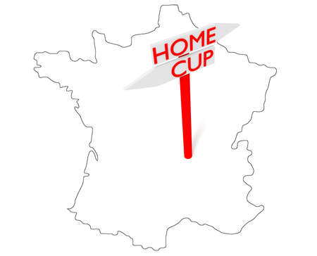 playoff: Home or Cup: guidepost with map of France, 3d illustration