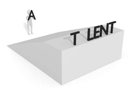 ramp: Missing letter: Talent on a ramp, 3d illustration