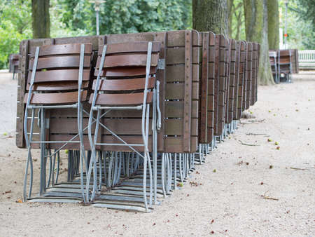 lawn chair: A row of folding chairs Stock Photo