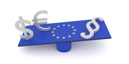 perversion: EU: money more important than law, 3d illustration
