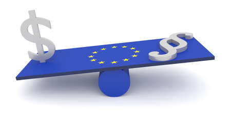 perversion: EU: US money more important than law, 3d illustration Stock Photo
