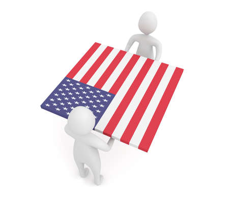 US Teamwork, American flag, 3d illustration