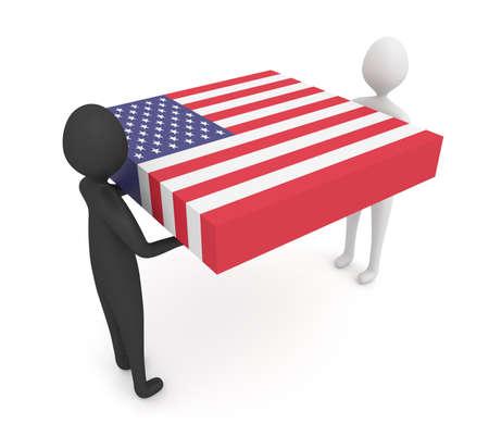 Black and white: US teamwork, 3d illustration