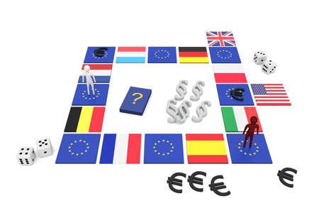 EU board game, 3d illustration
