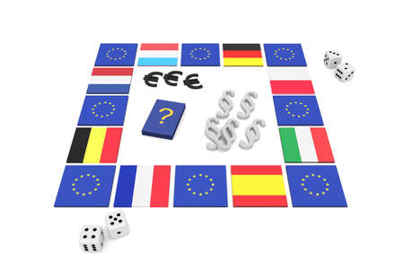 eu: EU board game, 3d illustration