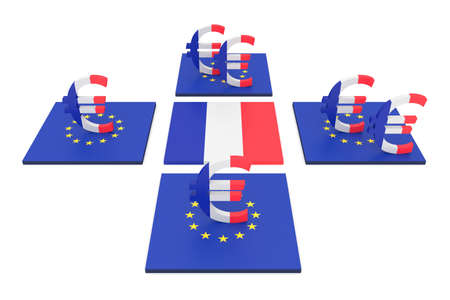 contribution: French contribution to the EU, 3d illustration
