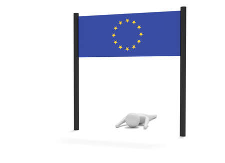 stretch: Way to EU: Failure on the home stretch, 3d illustration Stock Photo