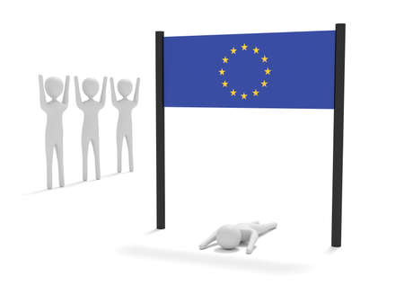 Just reached the European Union, 3d illustration
