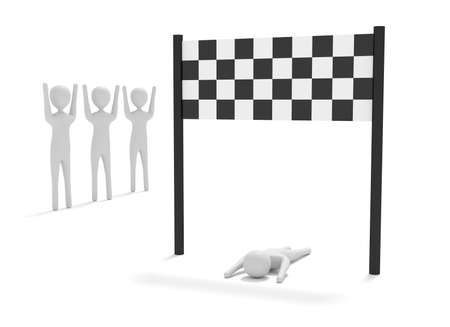 spectator: Just reached the finish, 3d illustration Stock Photo